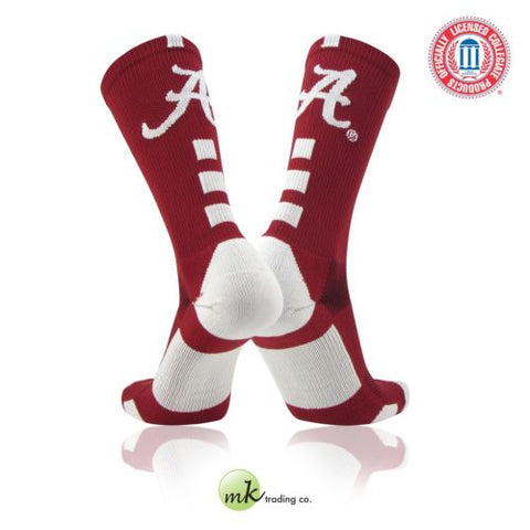 TCK Baseline Elite Licensed Alabama Crimson Tide Crew Socks
