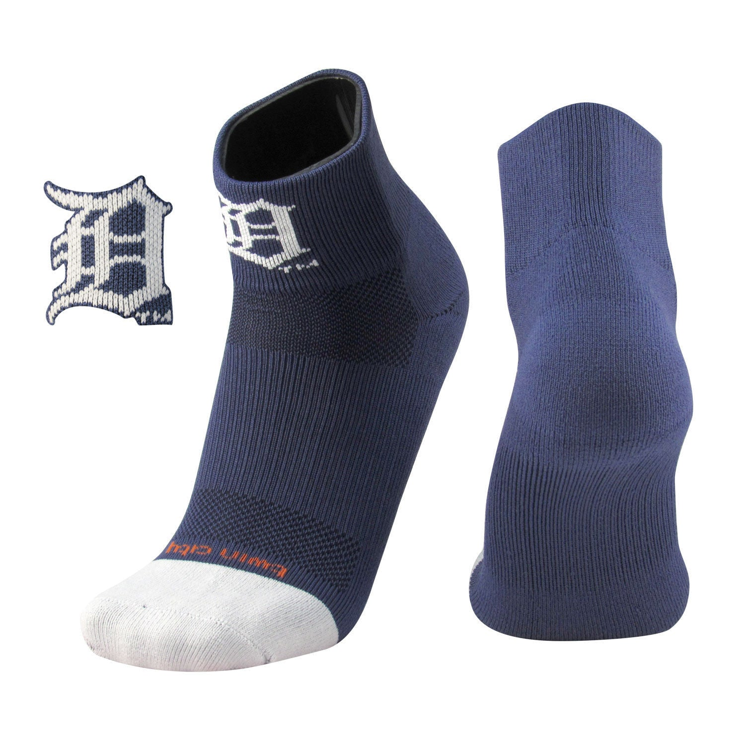 TCK Detroit Tigers MLB Logo Quarter Socks, Navy White, proDRI, Large