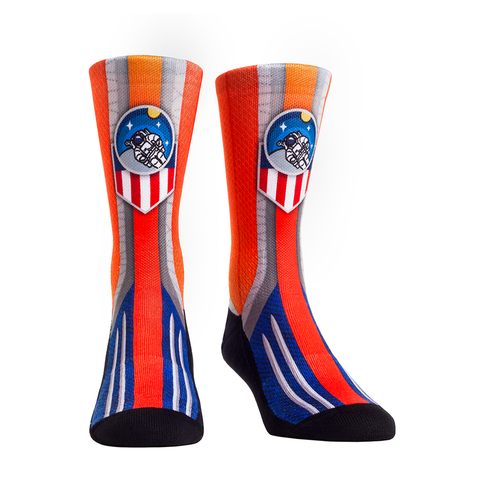 Rock Em Elite Space Flight Orange Astro Badge Crew Socks