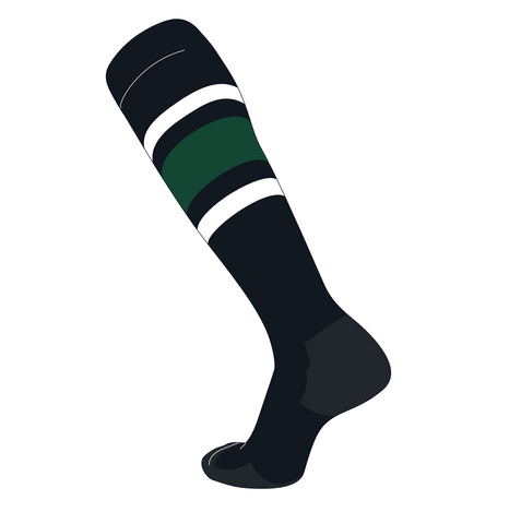 TCK Elite Baseball Football Knee High Striped Socks (E) Black, White, Dk Green
