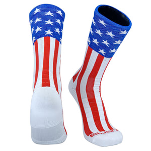 Swanq USA Uncle Sam Patriot Basketball Football Crew Socks by TCK