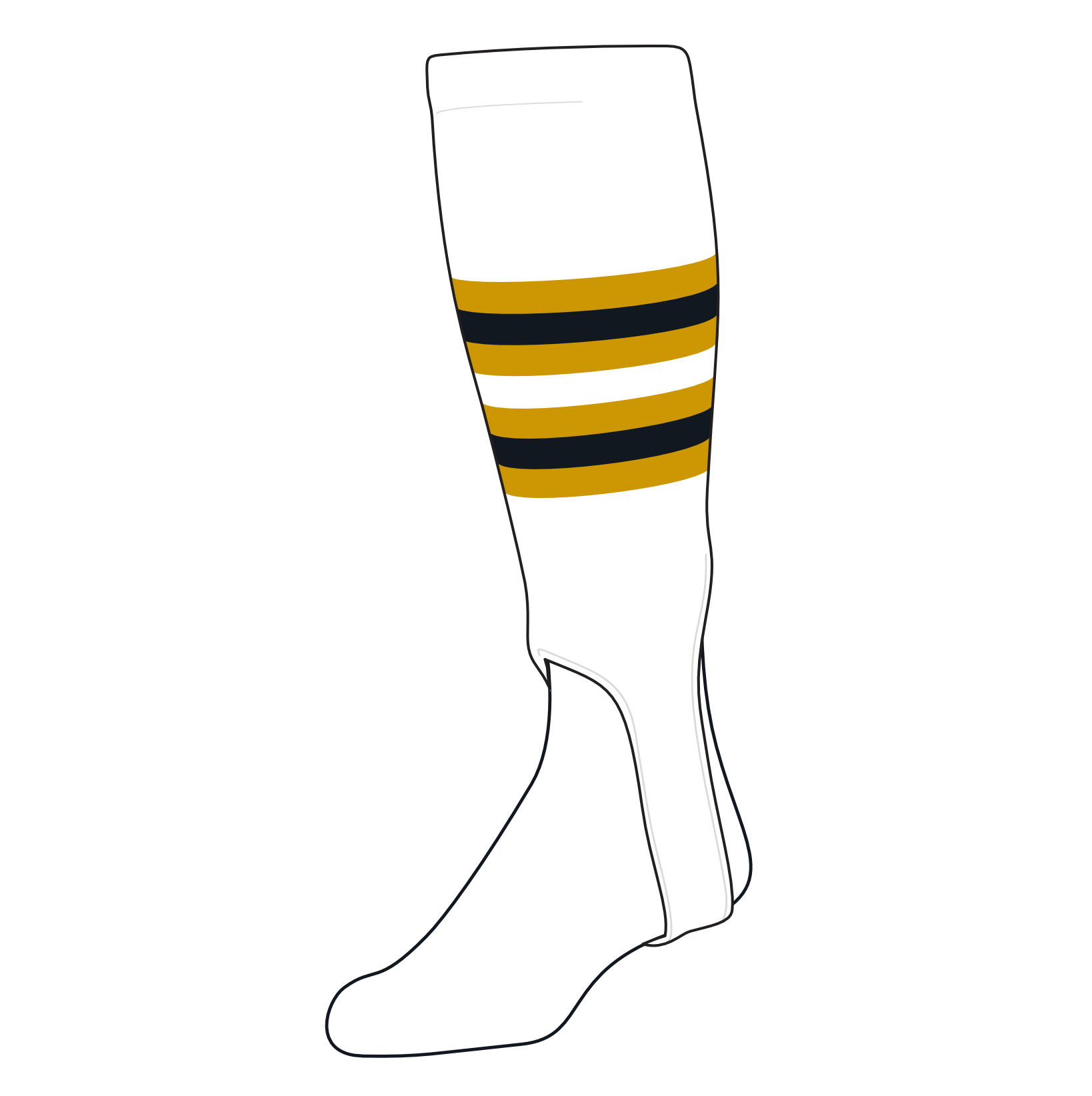 TCK Baseball Stirrups Medium (200I, 5in) White, Old Gold, Black