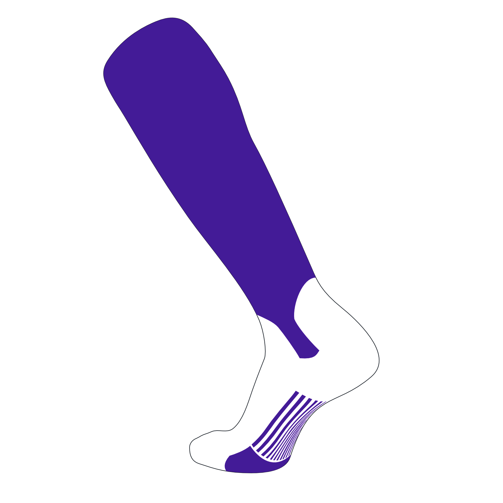 TCK Elite Baseball Knee High Stirrup Socks (A, 5in) Purple