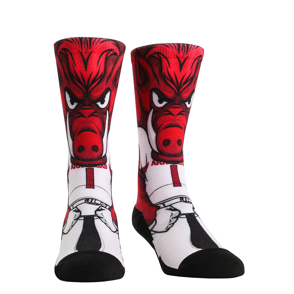 Rock Em Elite Arkansas Razorbacks HyperOptic Mascot NCAA Crew Socks (L/XL)