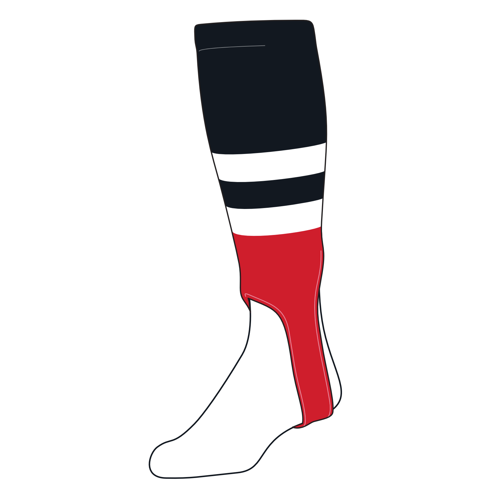 TCK Baseball Stirrups Medium (200G, 5in) Black, White, Red