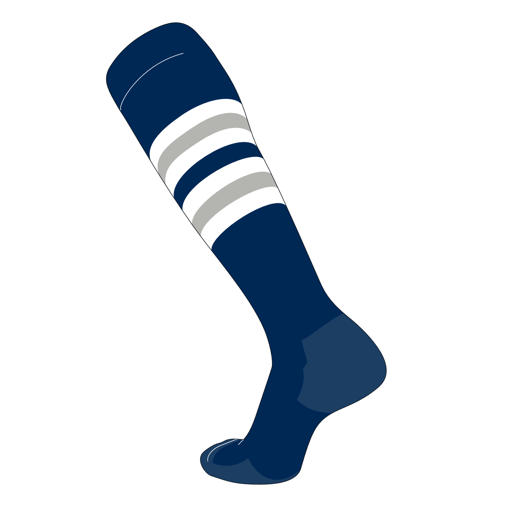 TCK Elite Baseball Football Knee High Striped Socks (I) Navy, White, Grey