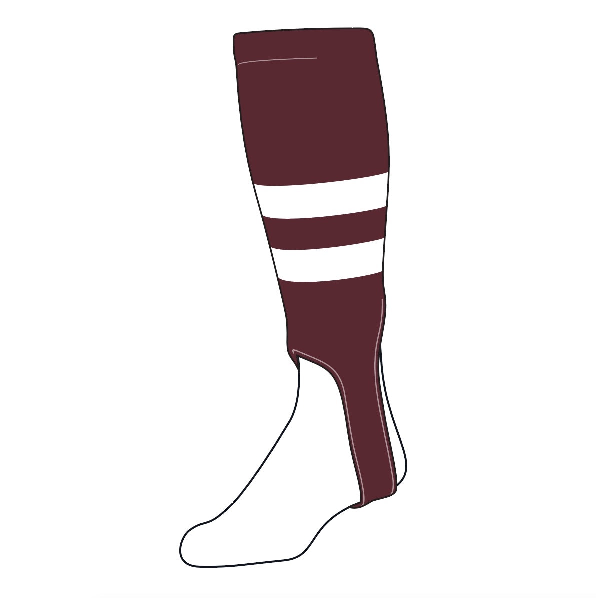 TCK Baseball Stirrups Medium (200G, 5in) Maroon, White