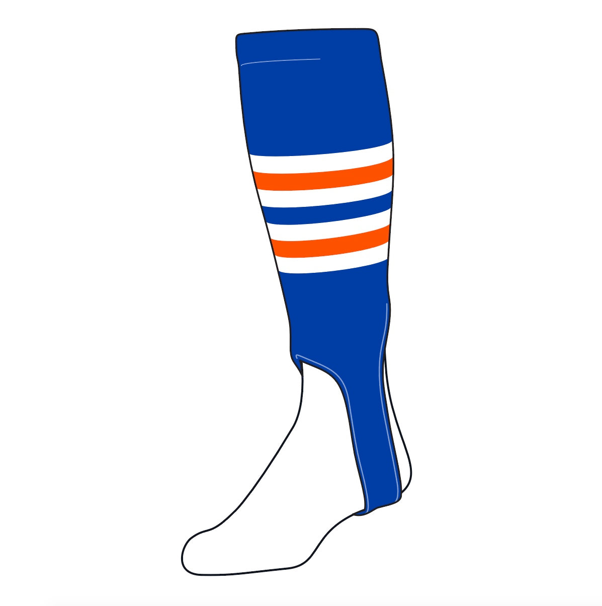 TCK Baseball Stirrups Medium (200I, 5in) Royal, White, NEON Orange
