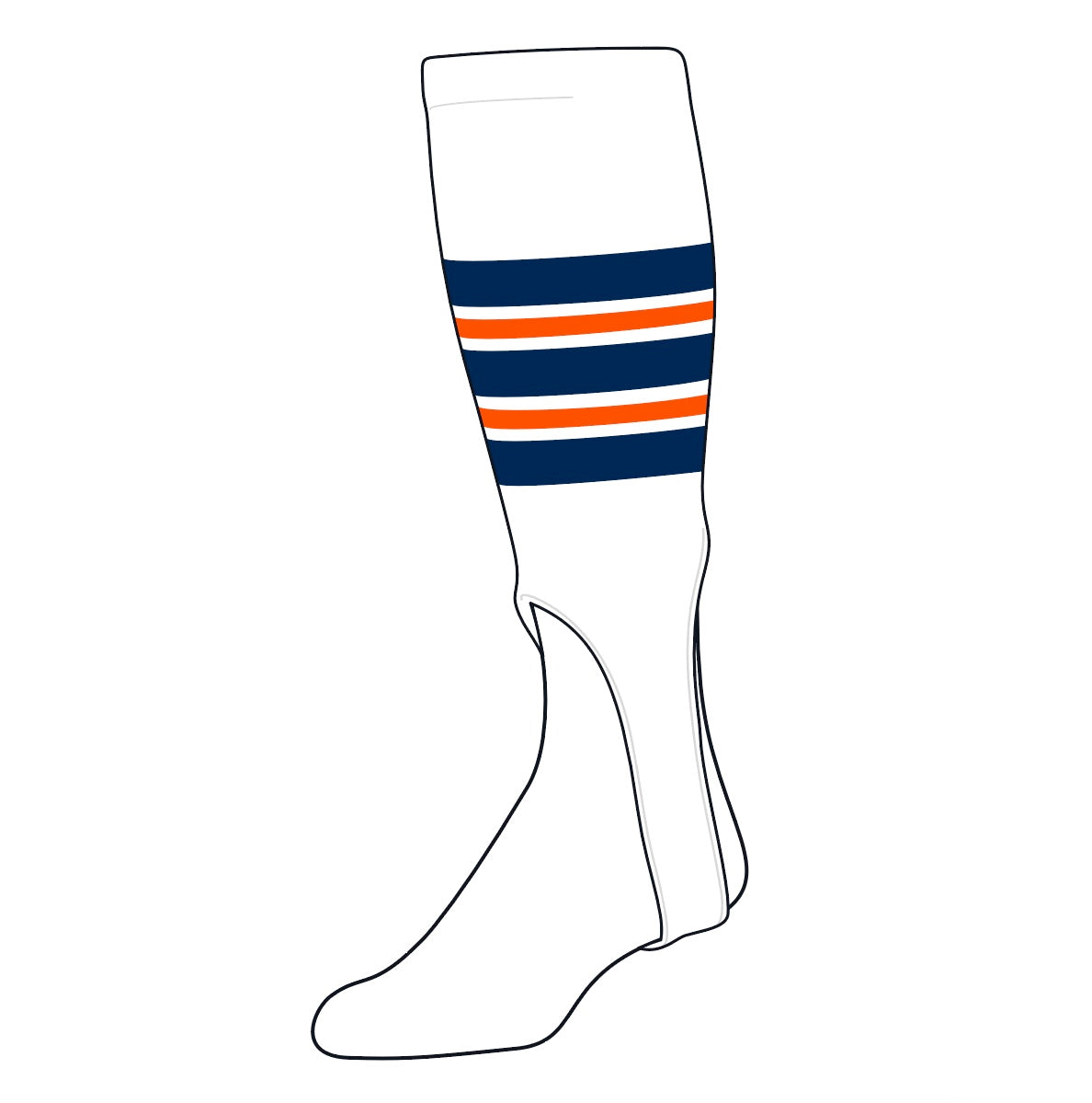 TCK Baseball Stirrups Medium (200F, 7in) White, Navy, Orange