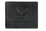 US Air Force Embossed Logo Genuine RFID Protection Leather BIFOLD Wallet (Black)