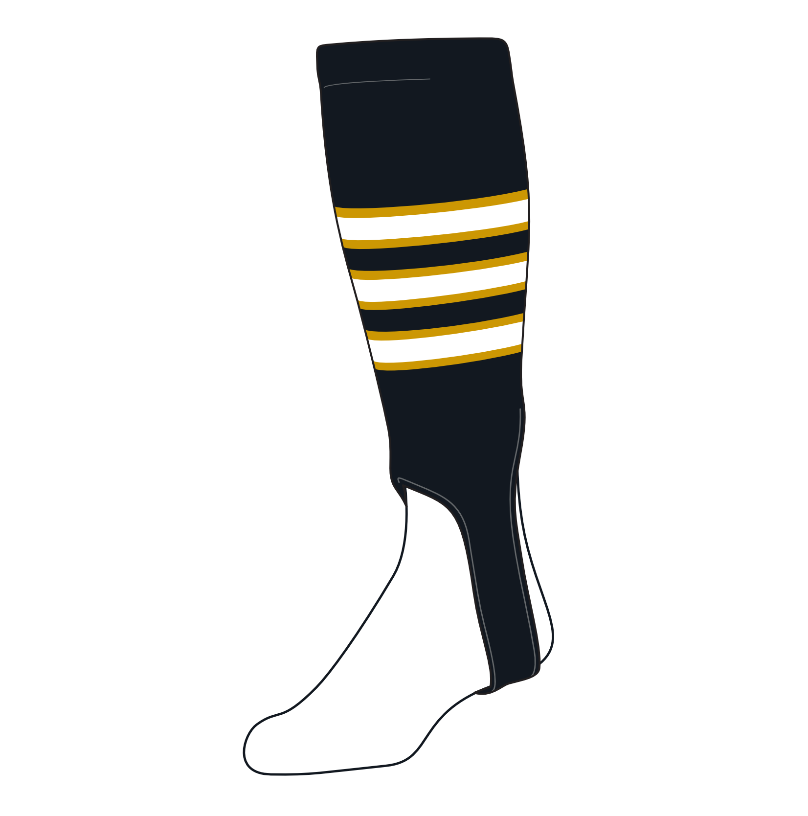 TCK Baseball Stirrups Small/Youth (100D, 4in) Black, Old Gold, White