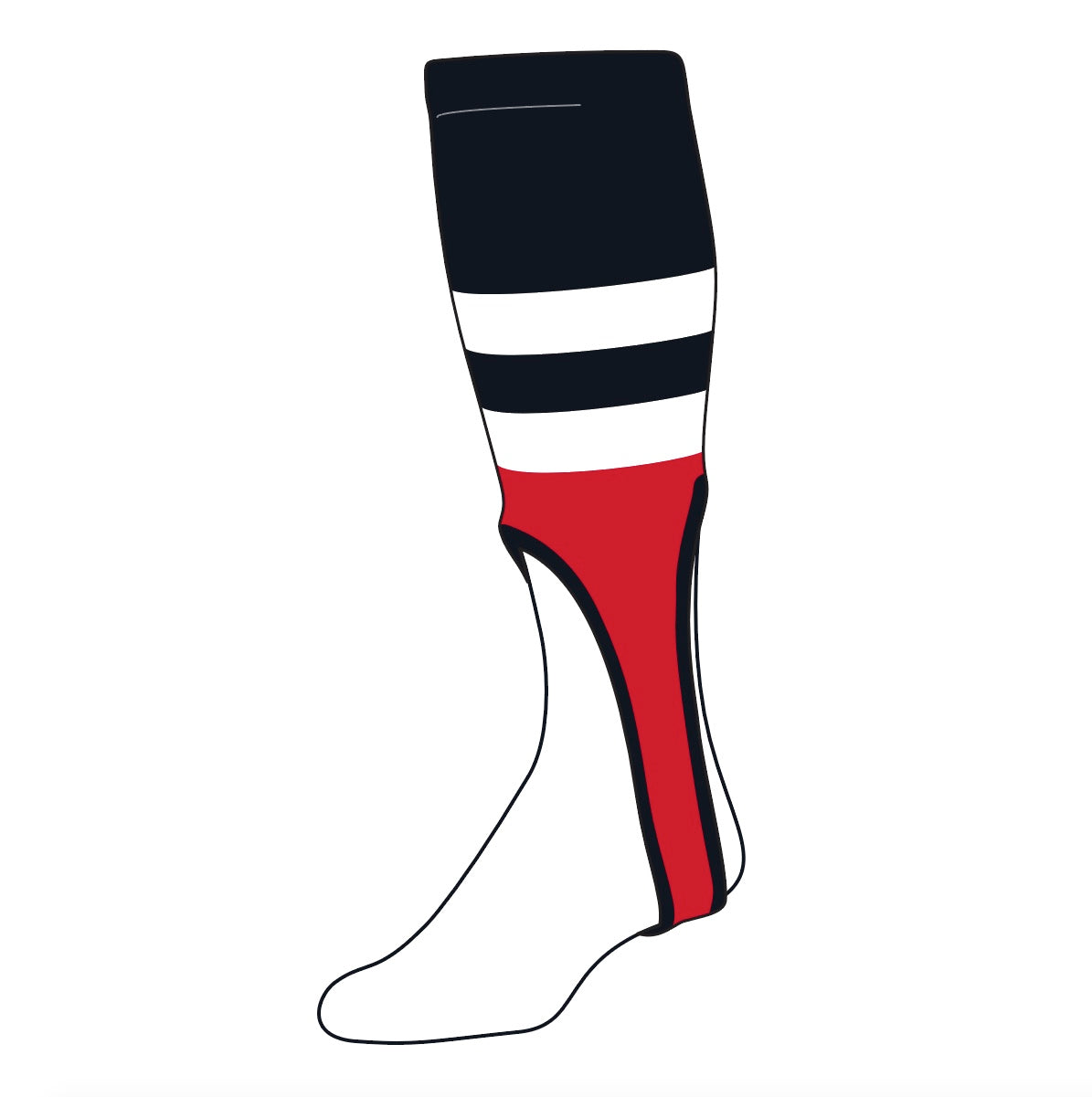 TCK Baseball Stirrups Medium (200G, 9in) Black, White, Red, OE