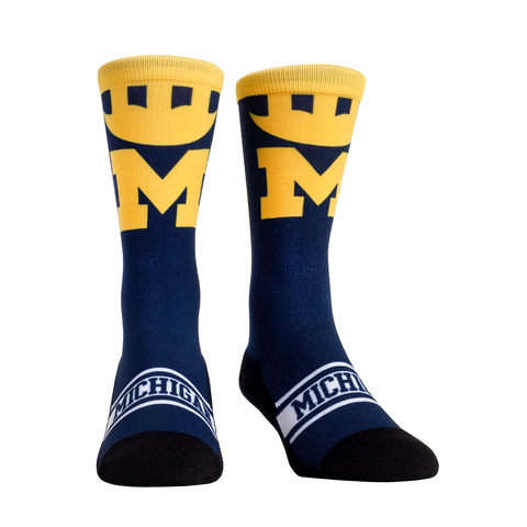 Rock Em Elite Michigan Wolverines Optic Winged Helmet NCAA Licensed Crew Socks