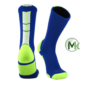TCK Baseline 3 Elite Royal Neon Yellow White Basketball Football Crew Socks
