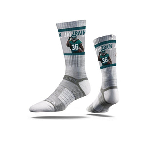 NFLPA Strideline Jay Ajayi Jay Train Grey Crew Socks