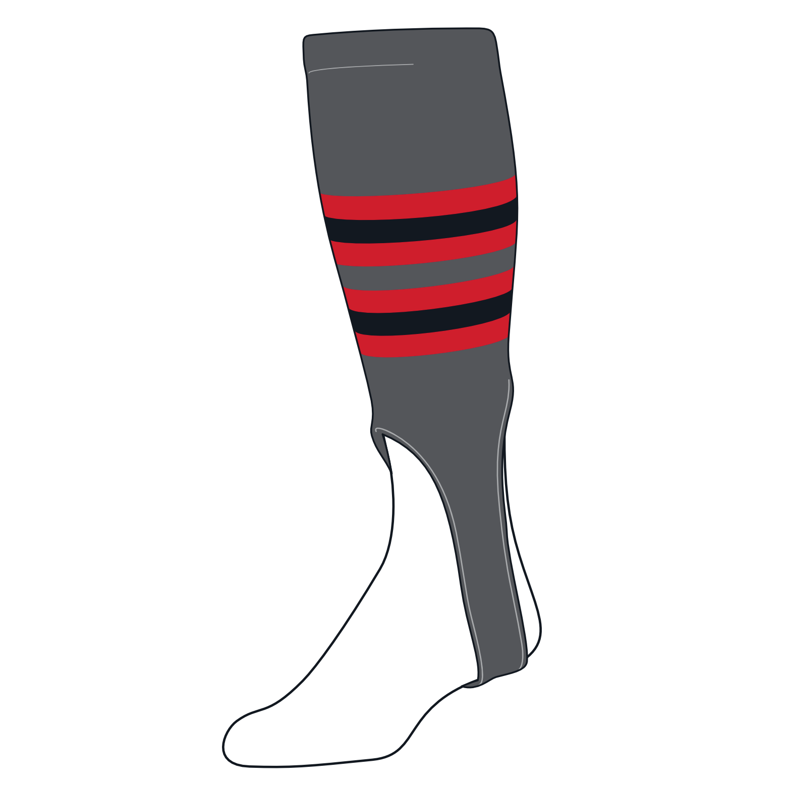 TCK Baseball Stirrups Medium (200I, 7in) Graphite, Red, Black