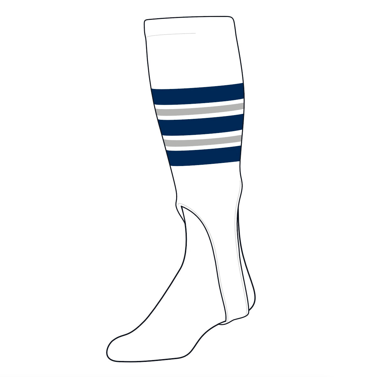 TCK Baseball Stirrups Medium (200F, 7in) White, Navy, Grey