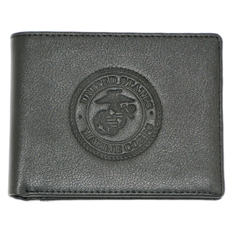 US Marines Genuine RFID Protection Leather BIFOLD Logo Wallet (Black)