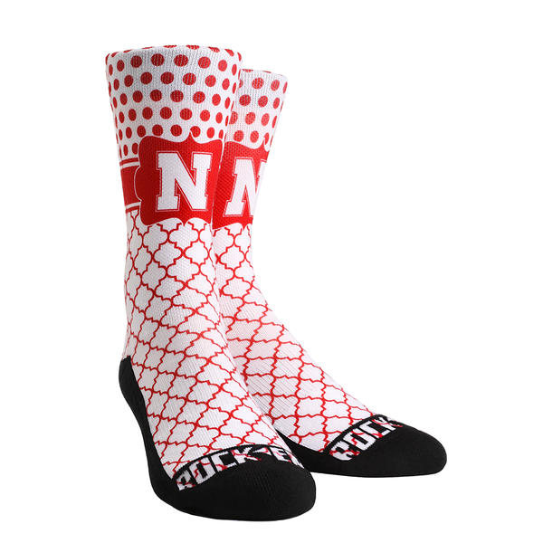 Rock 'Em Elite, Nebraska - Quatrefoil Dots, Licensed Crew Socks