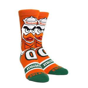 Rock Em Elite Miami Hurricanes Sebastian Mascot Knitted Licensed L/XL Crew Socks