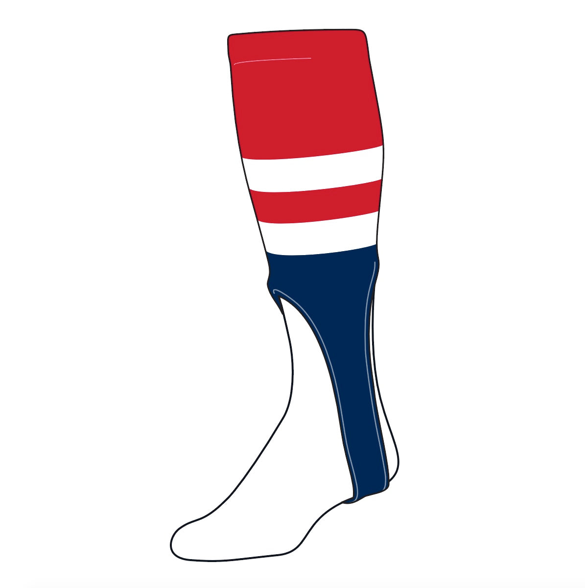 TCK Baseball Stirrups Medium (200G, 9in) Red, White, Navy