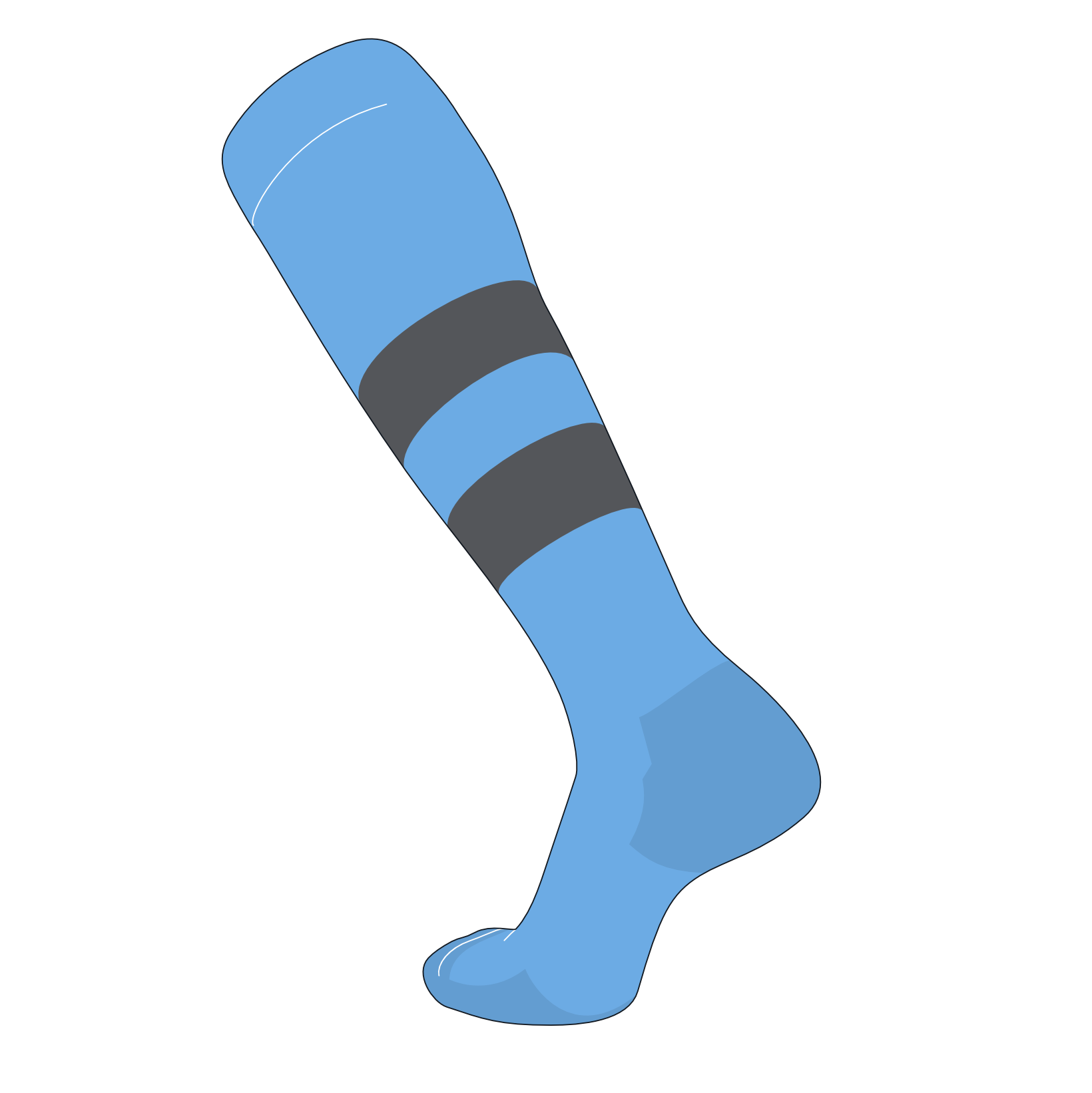 TCK Elite Baseball Football Knee High Striped Socks (G) Baby Blue, Graphite