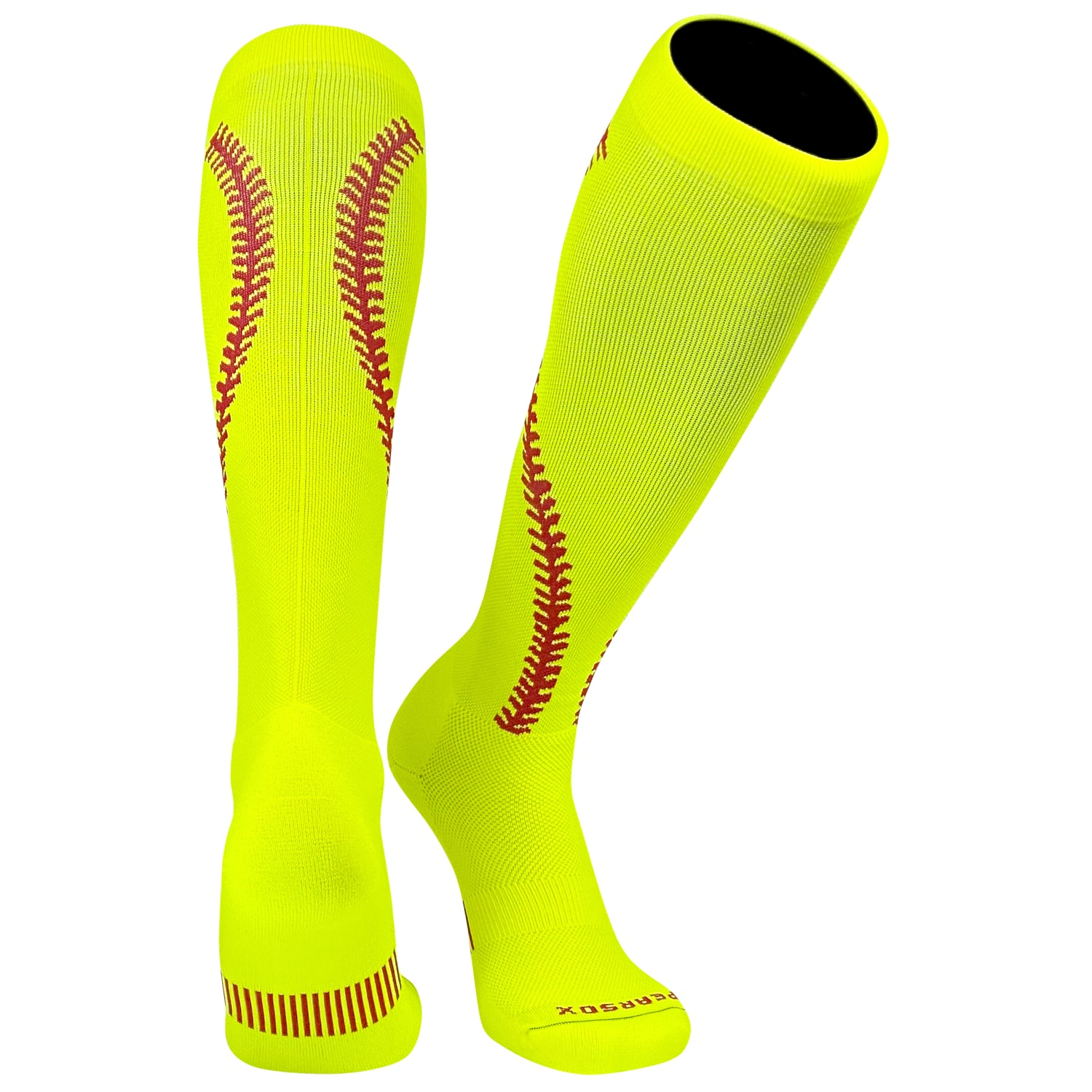 Pearsox Softball Stitch Neon Yellow with Red Stitching Knee high Socks