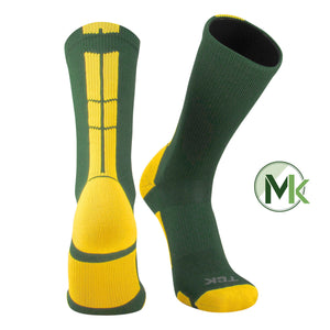 TCK Baseline 3.0 Elite Dark Green Gold Basketball Football Crew Socks proDRI