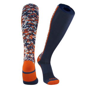 TCK Digital Camo Elite Navy Blue Orange Knee High Baseball Football Soccer Socks