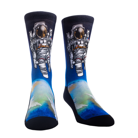 Rock Em Elite Spacewalk over Earth Crew Socks