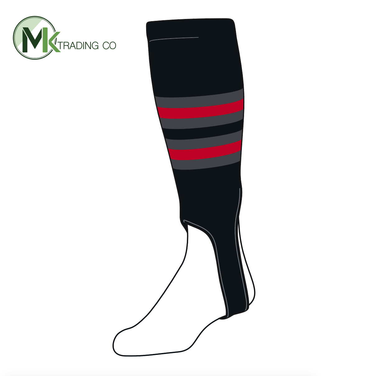 TCK Baseball Stirrups Medium (200I, 5in) Black, Graphite, Red