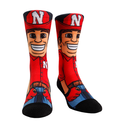 Rock Em Elite Nebraska HyperOptic Mascot NCAA Crew Socks (L/XL)