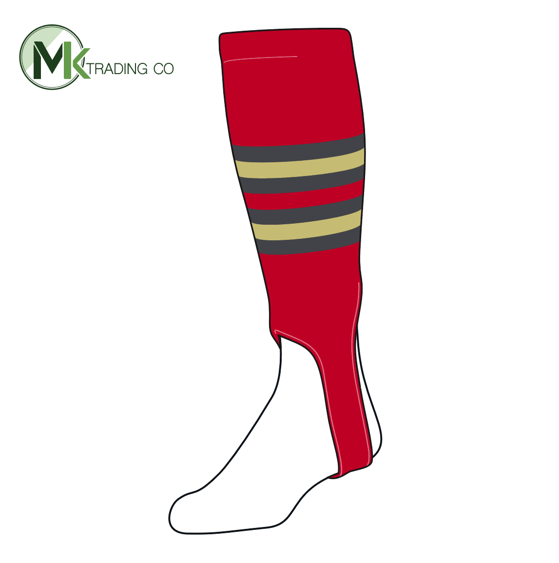 TCK Baseball Stirrups Medium (200I, 5in) Red, Graphite, Vegas Gold