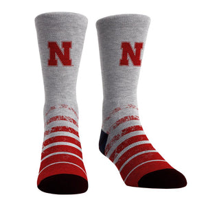 Rock Em Nebraska Huskers - Vintage Heather NCAA Licensed Crew
