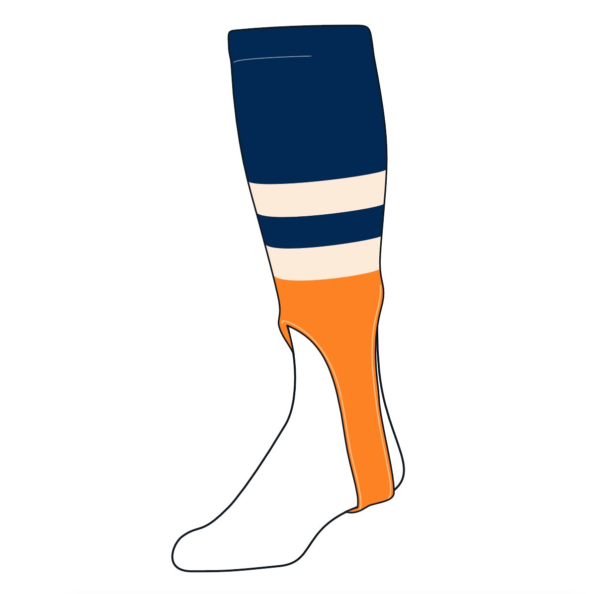 TCK Baseball Stirrups Medium (200G, 7in) Navy, Natural, Tennessee Orange