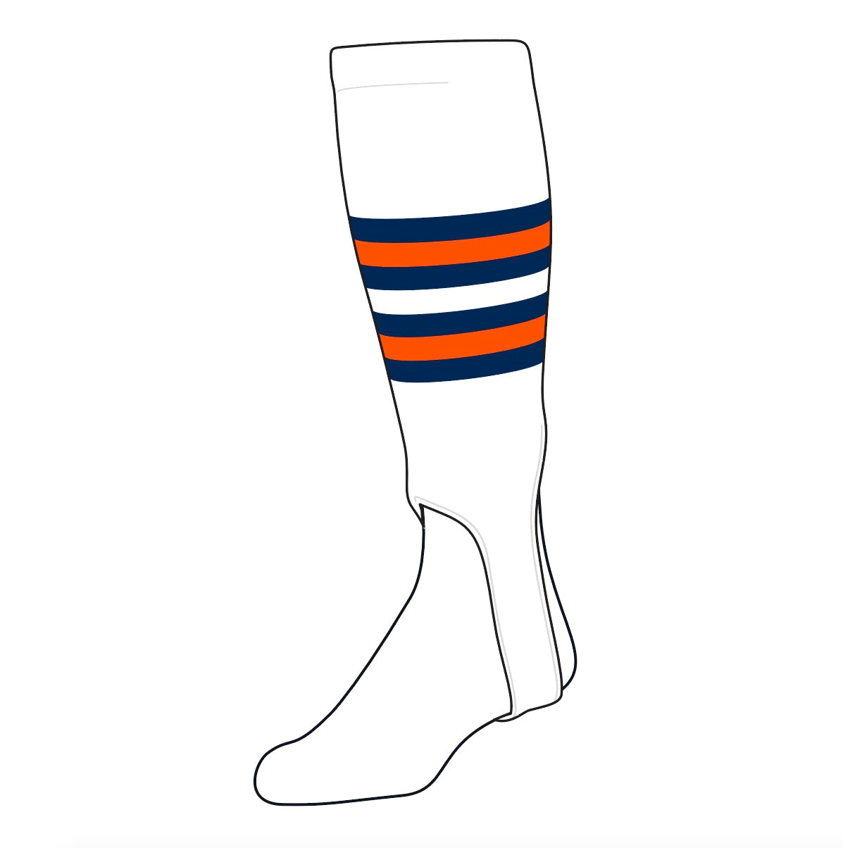 TCK Baseball Stirrups Medium (200I, 5in) White, Navy, Orange