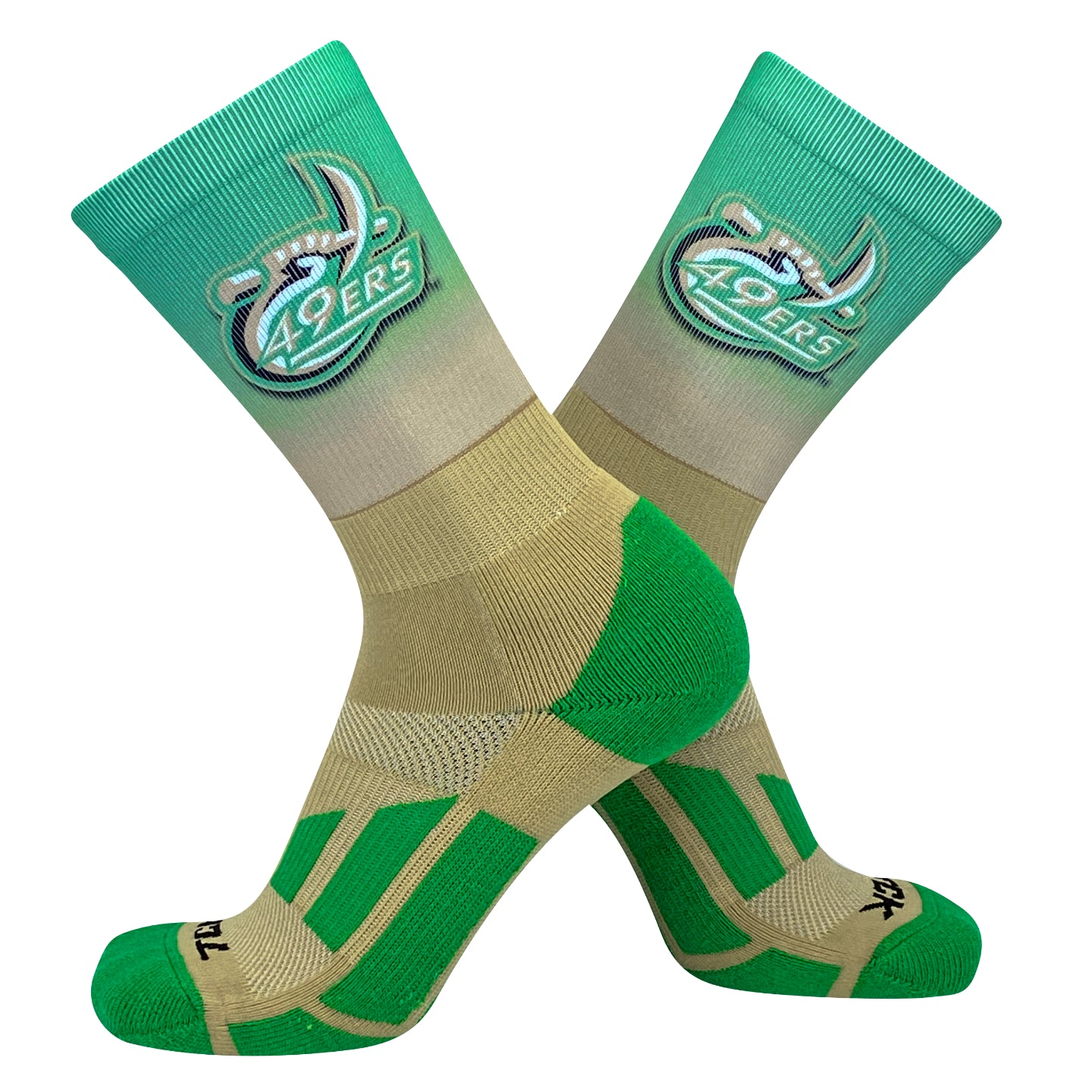 TCK UNCC 49ers Ombre NCAA Licensed Crew Socks (8-13)