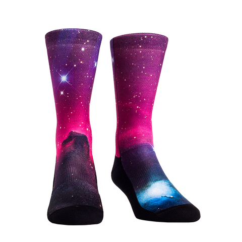 Rock Em Elite Outer Space Purple Nebula Galaxy Crew Socks