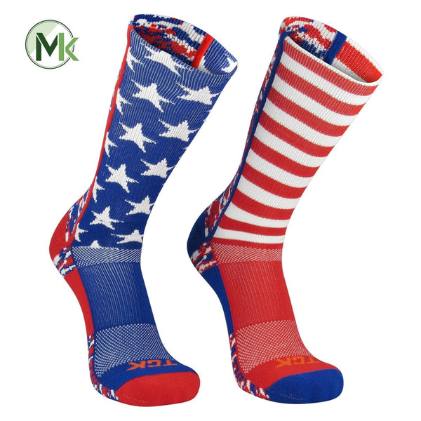 TCK Elite USA Flag Digital Camo Mis-Match Red White Blue Crew Socks