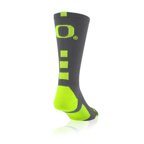 TCK Baseline Elite Socks - Oregon Ducks Licensed - Graphite/Neon Yellow - NIB