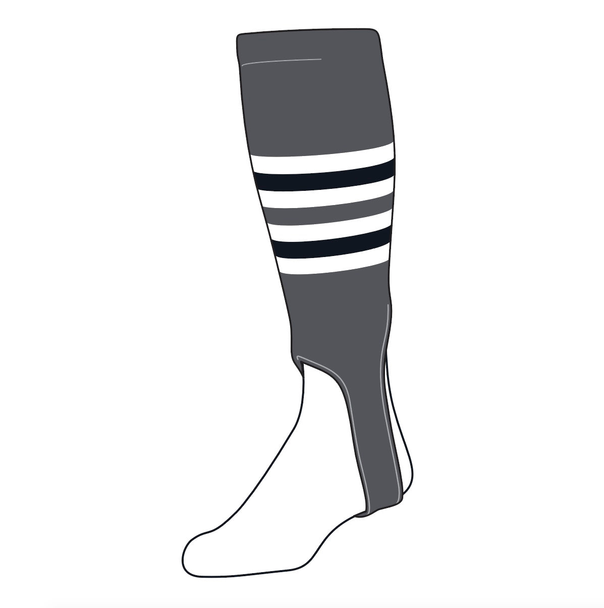 TCK Baseball Stirrups Medium (200I, 5in) Graphite, White, Black