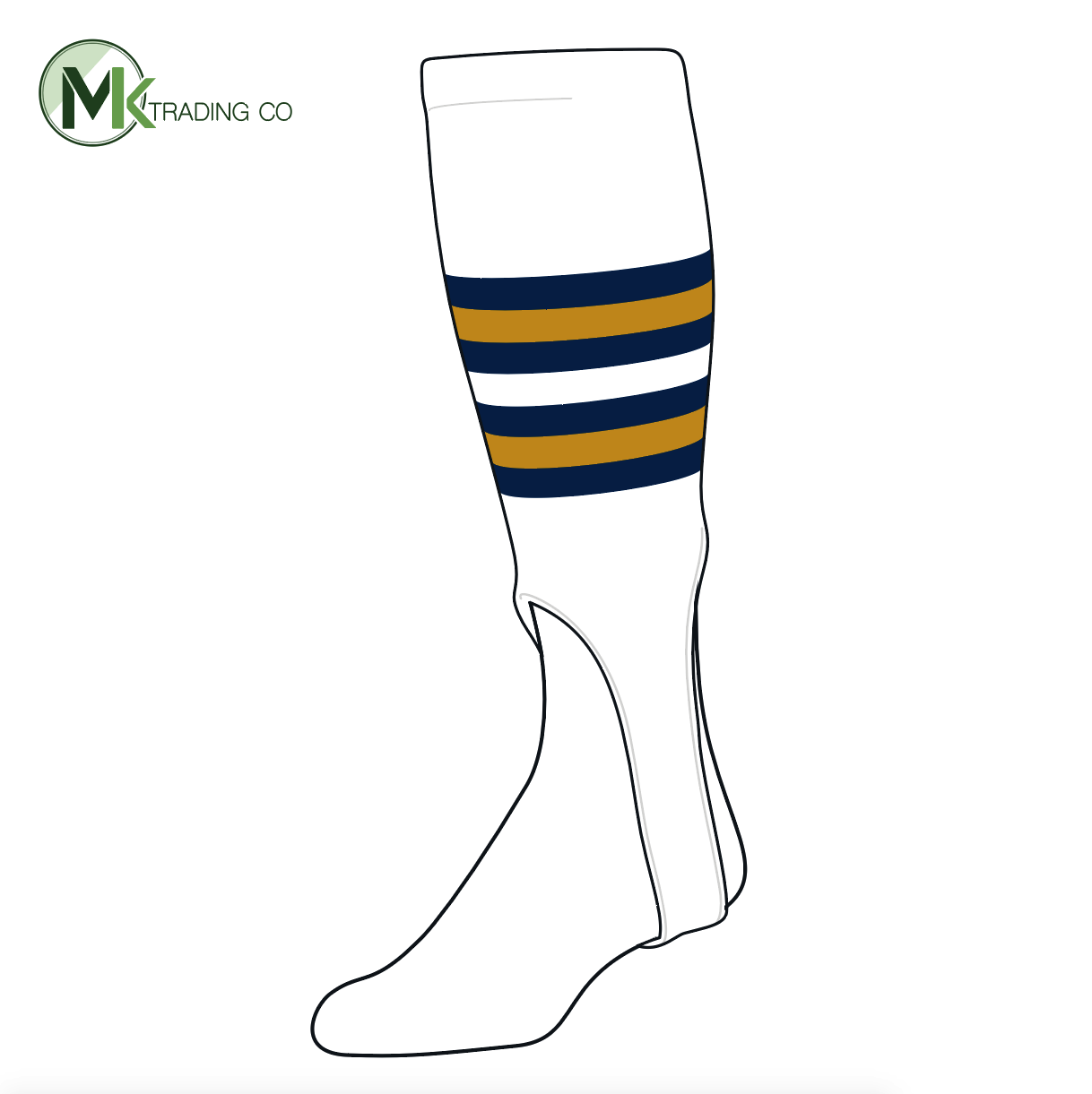 TCK Baseball Stirrups Medium (200I, 7in) White, Navy, Old Gold