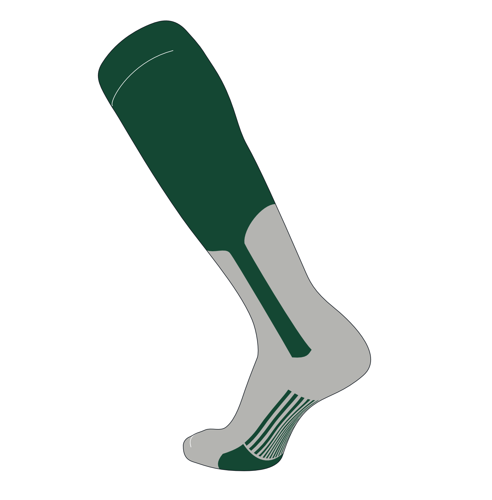 TCK Elite Baseball Knee High Stirrup Socks (A, 9in) Kelly Green, Grey