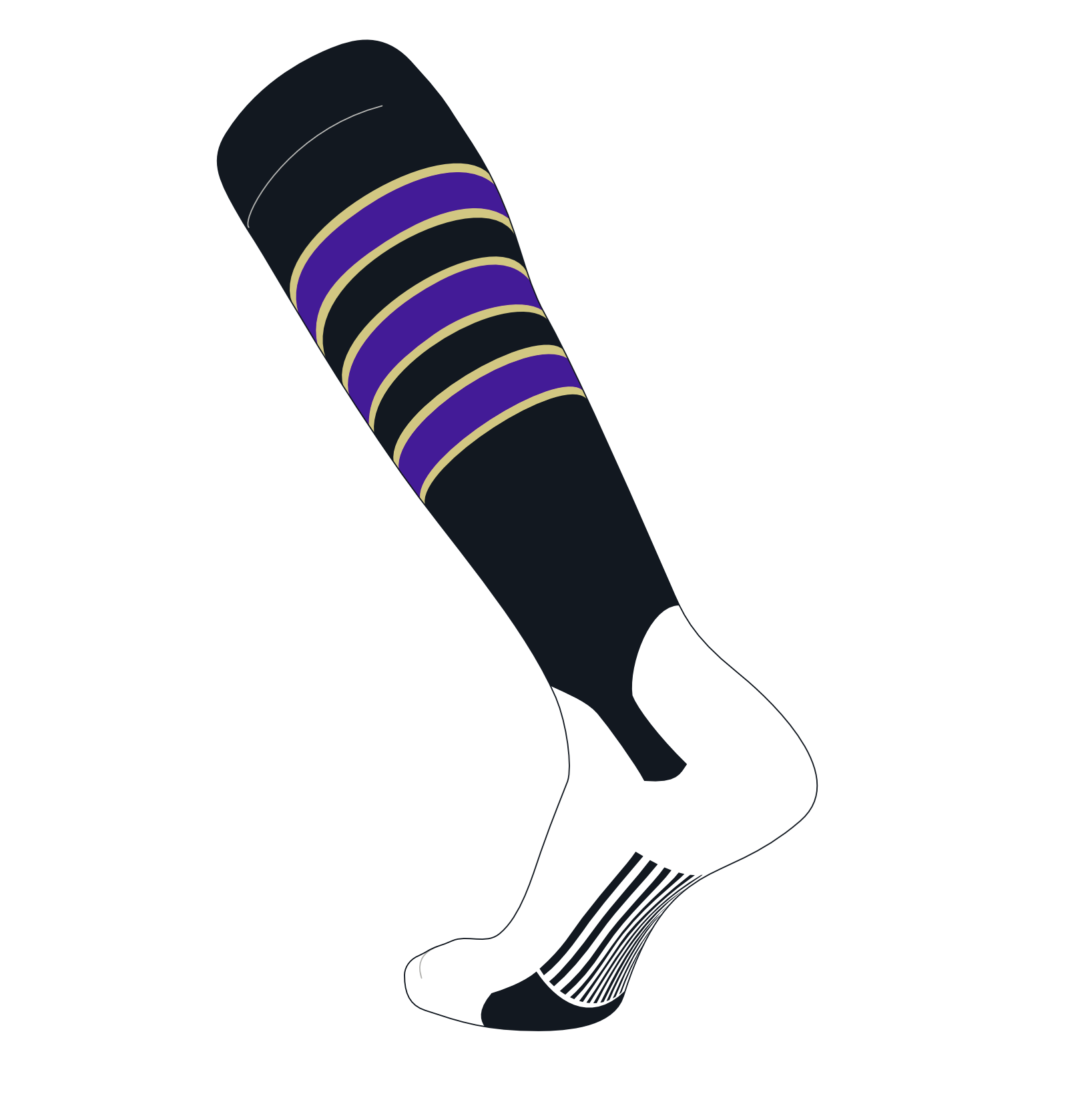 TCK Elite Baseball Knee High Stirrup Socks (D, 5in) Black, Vegas Gold, Purple