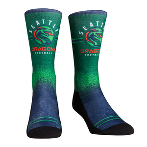 Rock Em Elite XFL Seattle Dragons Splatter Crew Socks