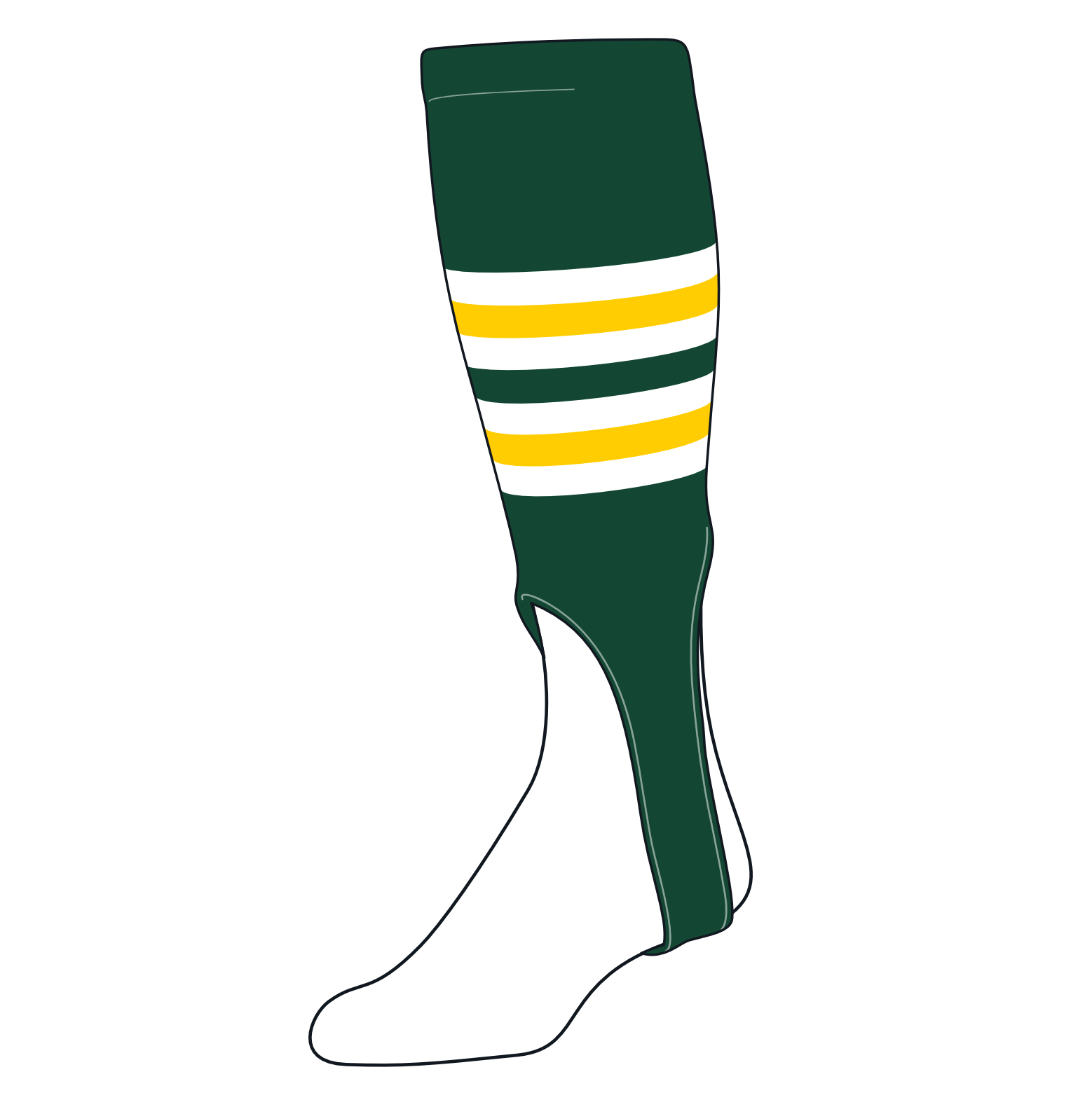 TCK Baseball Stirrups Medium (200I, 7in) Dk Green, White, Gold