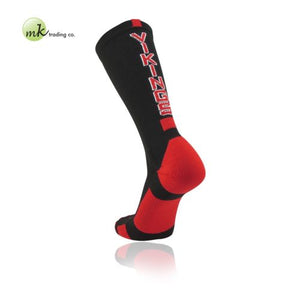 TCK Baseline Elite (Large) VIKINGS Black Scarlet Red proDRI Crew Socks NEW