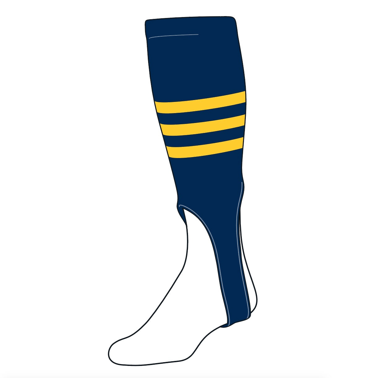 TCK Baseball Stirrups Large (300B, 7in) Navy, Gold