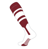 TCK Elite Baseball Knee High Stirrup Socks (C, 7in) Cardinal, White