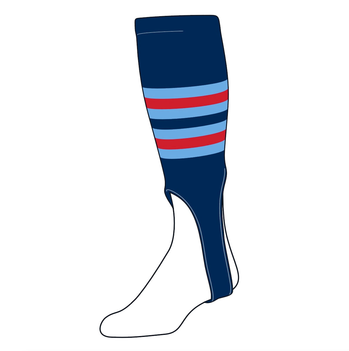 TCK Baseball Stirrups Medium (200I, 7in) Navy, Baby Blue, Red